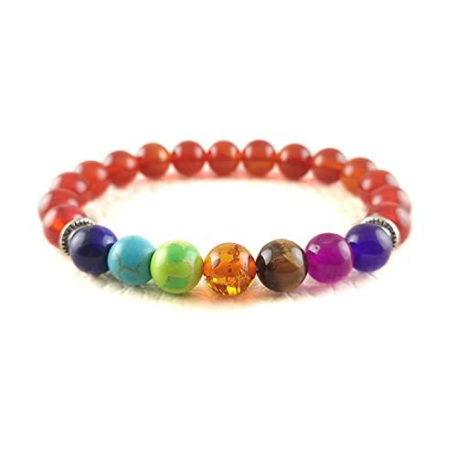 Crystallay Natural Red Onyx Gemstone 8MM Cuentas 7 Chakra Crystal Healing Stretch Pulsera Meditación, Relex, Concquer Fear Brazalete para mujeres y hombres