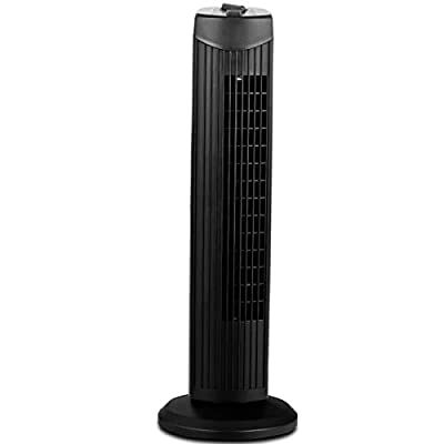 COSTWAY Tower Fan, 28-Inch Oscillating Tower Fan, Quiet Cooling Whole Room Bladeless, 3 Speed, 3 Wind Mode, Oscillating Tower Fan for Bedrooms, Living Rooms, Kitchen (Black)