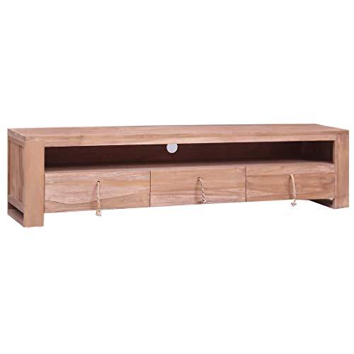 UnfadeMemory Mueble para TV de Estilo Colonial,Armario Auxiliar,Aparador,Mueble Bajo,con 3 Cajones y 1 Compartimento,Madera Maciza de Teca,140x30x35cm