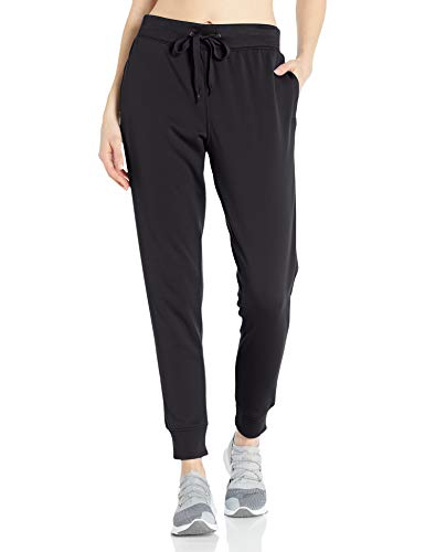 Hanes Women's Sport Performance Fleece Jogger Pants with Pockets, Black Solid/Black Heather, S