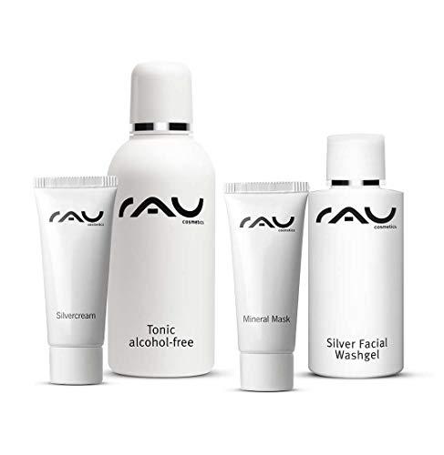 RAU Cosmetics Starter-Set unreine Haut - KLEIN - Silver Facial Washgel, Tonic alcohol-free, Silvercream und Mineral Mask