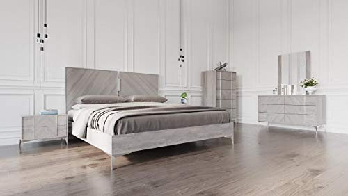 Premium Italian Modern Grey King Size Bedroom Set 5Pcs Soflex Nova Domus Alexa