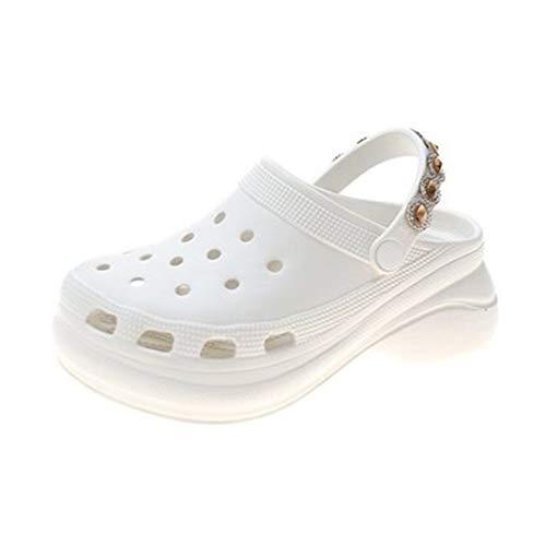 CNNLove - Sandalias para mujer, sin cordones, estilo informal, para el jardín, impermeables, para mujer, clásicas, cuidado de enfermeras, zapatillas de mujer, blanco, 37 EU