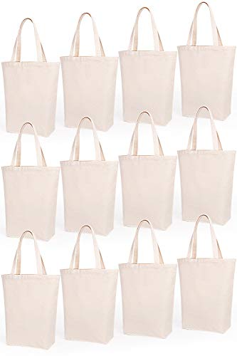 Lily Queen Natural Canvas Tote Bags DIY Reusable Shopping Grocery Bag (Natural - 12 Pack)