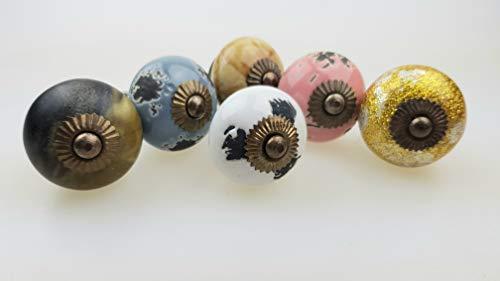 Jay - Pomelli per mobili, set da 6 pezzi, stile shabby chic, in ceramica, dipinti a mano, per armadi, cassetti, comò