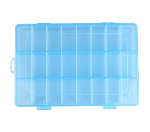 Mdsfe transparante bewaardoos met 24 vakjes van kunststof, verstelbare opbergdoos voor sieradenschroeven - blauw, a2