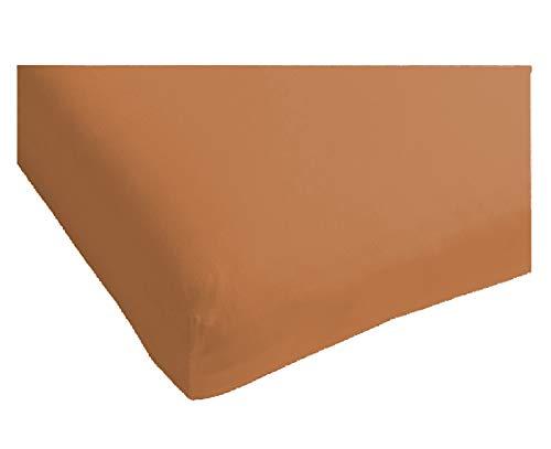 Heckett & Lane Katoenen percale hoeslaken voor boxspring topper 200 x 200 cm tot 12 cm I Terra Brown