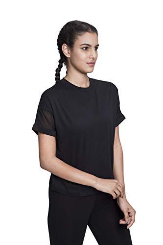 Satva Premium Organic Cotton Racerback Mesh Short Sleeve T-Shirt Round Neck For Yoga Workout Running Sports Training Cycling Jodo Tee, Black, Large