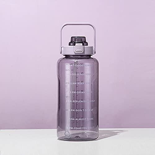 Mosako - Botella de agua deportiva con rotulador de tiempo de motivación, impermeable, sin BPA, gran botella con pajita para el hogar, la oficina, las actividades al aire libre, 2 l (malva)