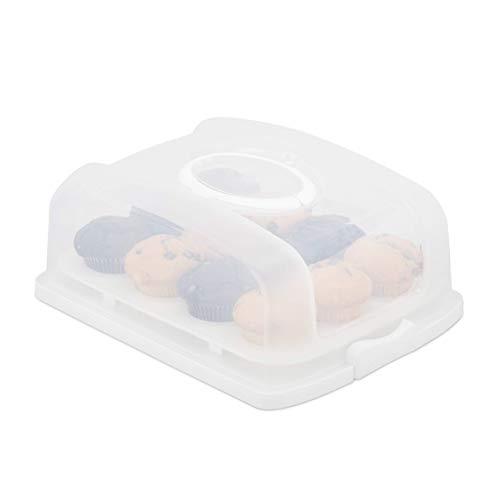 Relaxdays Kuchenbox, rechteckig, mit Deckel, Kuchen & Muffins, Partybutler, HBT: 15,5 x 37,5 x 27,5 cm, weiß/transparent