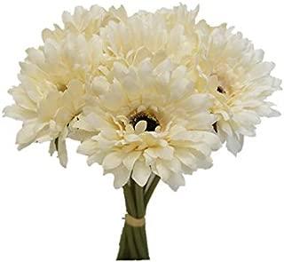 Sweet Home Deco 13'' Silk Artificial Gerbera Daisy Flower Bunch (W/7stems, 7 Flower Heads) Home/Wedding (Cream)
