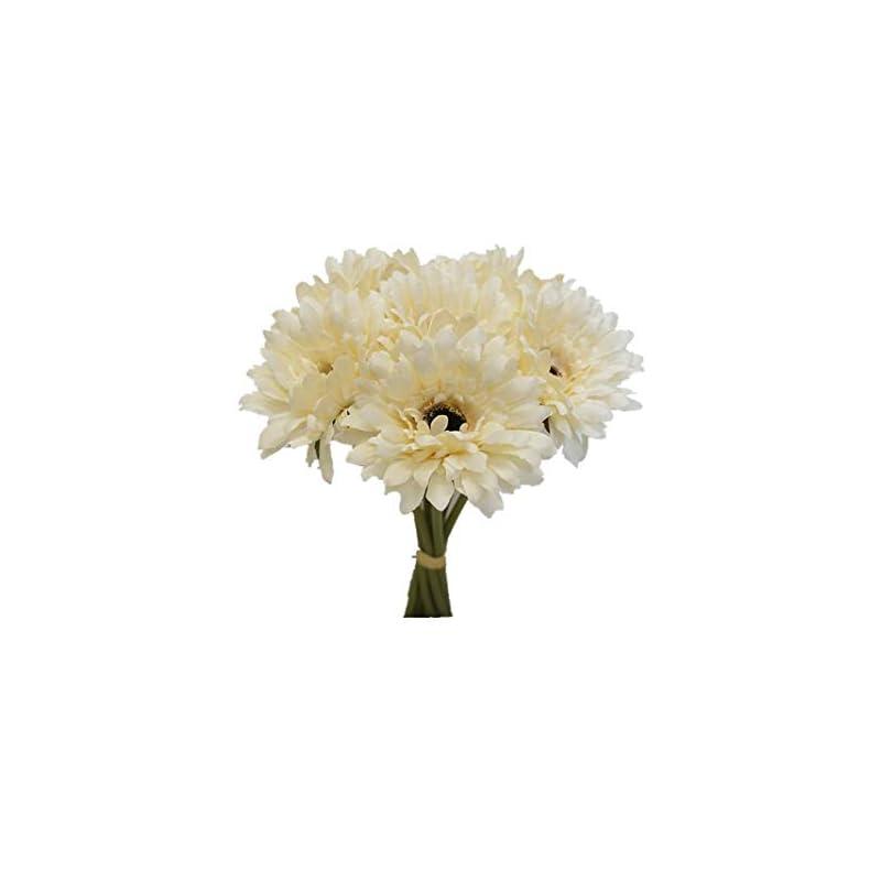 silk flower arrangements sweet home deco 13'' silk artificial gerbera daisy flower bunch (w/ 7stems, 7 flower heads) home/wedding (cream)