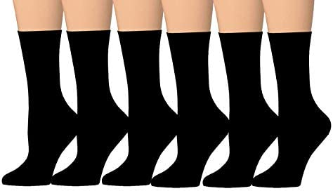 Tipi Toe Women s 6 Pairs Colorful Funky Patterned Crew Dress Socks Black product image