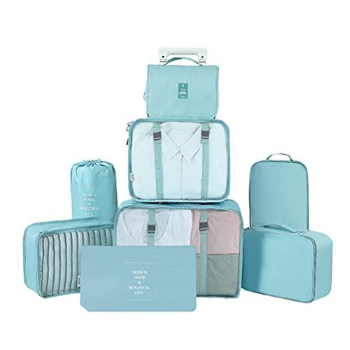 Ketamyy - Set di 8 cubi da viaggio per imballaggio, organizer per bagagli, sacchetti a compressione, per vestiti, valigie, scarpe, articoli da toeletta, campeggio, colore: Azzurro