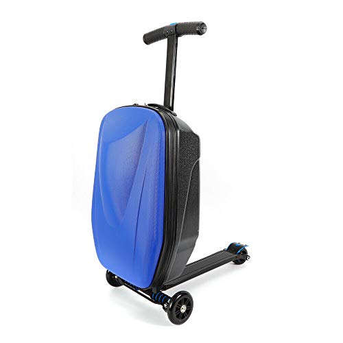 GUANG Scooter Luggage Case, 20inch Adult Ride-on Trolley Carry On Luggage Scooter Suitcase with Wheels for Airport Travel Business (Blue)
