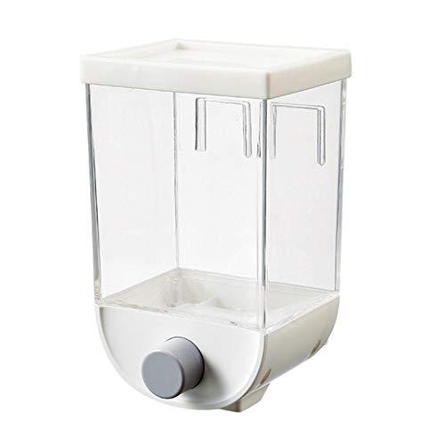 hook.s An der Wand montierte Lebensmittelspender, Easy Press Trockenfutterkörner Nüsse Kaffeebohnen Sojabohnen-Dosierbehälter, Küche Transparenter Kunststoff Luftdichter Getreidebehälter (1 l)