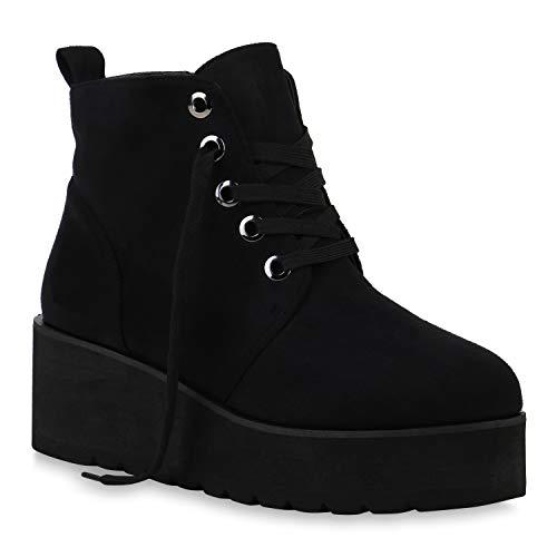 Damen Boots Plateau Stiefeletten Profilsohle Knöchelhohe Stiefel Veloursleder-Optik Plateau Schuhe 129429 Schwarz All 40 Flandell
