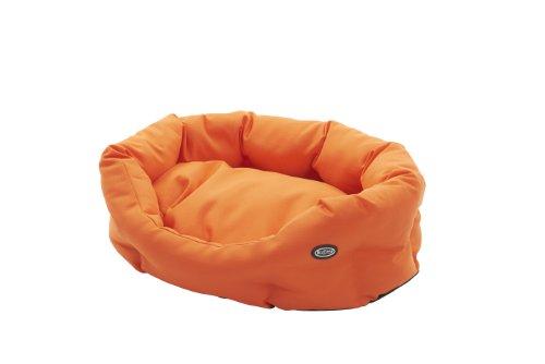 Buster hondenbed, cocon-design, 45 cm, staalgrijs/leer bruin paspeling, 45cm, oranje