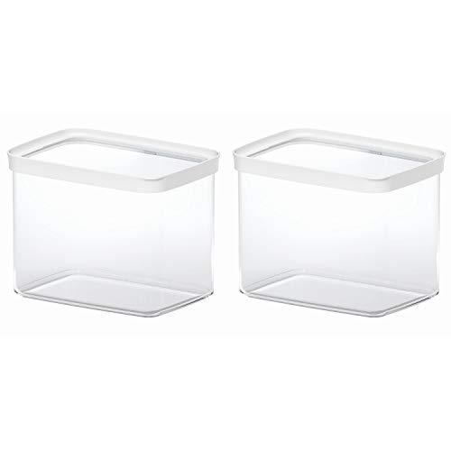 EMSA 513563 OPTIMA Trockenvorratsdose, stapelbar, rechteckig, 4.40 Liter, klar/weiß (2 Stück)