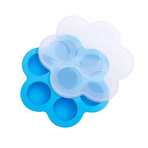 Eierkocher aus Silikon, antihaftbeschichtet, wiederverwendbar, mit Deckel, Eierkocher, Kuchenform blau