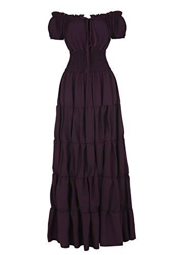 Renaissance Costume for Women Medieval Chemise Dress Peasant Tops Irish Purple-XL