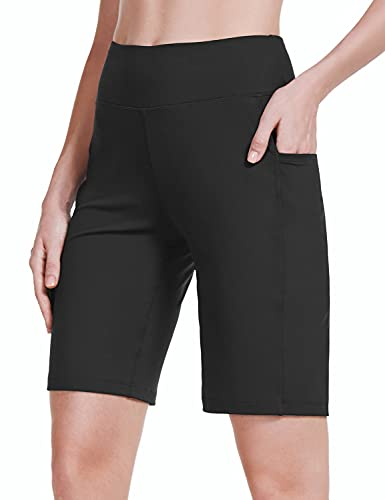 """BALEAF Women's 10"""" Athletic Bermuda Long Shorts High Waisted Running Workout Stretchy Pocketed Shorts Black L"""