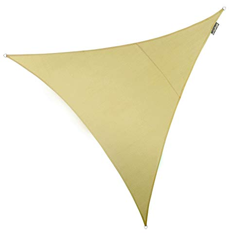 Kookaburra Atmungsaktives 5,0m Dreieck Sonnensegel Luftdurchlässig HDPE Strickgewebe 90% UV Schutz Sonnenschutz für Garten Terrasse und Balkon (Sandfarben)