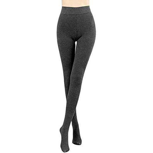 JEPOZRA Damen-Thermostrumpfhose, warm, blickdicht, schwarz und naturfarben. (M, Gray)