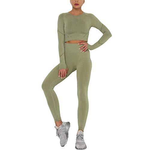 Yingshu Traje Yoga Sin Costuras Mujer Camisas Deportivas Crop Top Leggings Sin Costuras Conjunto Deportivo Ropa Gimnasio Chándal Fitness