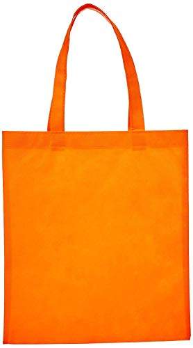 Reusable Convention - Conference Tote Bags Non Woven Bright Colors for Promotions, Giveaway Favors, Orange, Set of 100