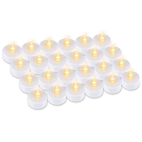 HebyTinco 24 Pezzi Candele a LED, LED Bianco Caldo, portò Candele Flickering flameless Candele, per Decorazione di Casa Camera Natale Partito Matrimoni Compleann