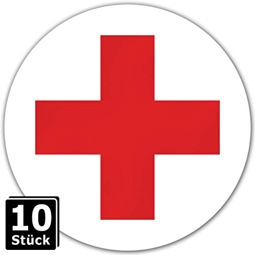 KAVARO Rotes Kreuz Aufkleber Erste Hilfe Aufkleber DRK Aufkleber (10 Stück)