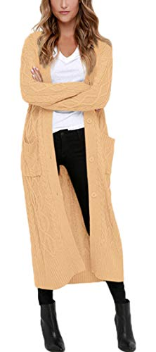 Aleumdr Strickmantel Strickjacke Damen Gestrickt Lose Cardigan Wintermantel Causal Cardigan Parkajacke Outwear mit Taschen und Langarm, Khaki, X-Large (EU44-EU46)