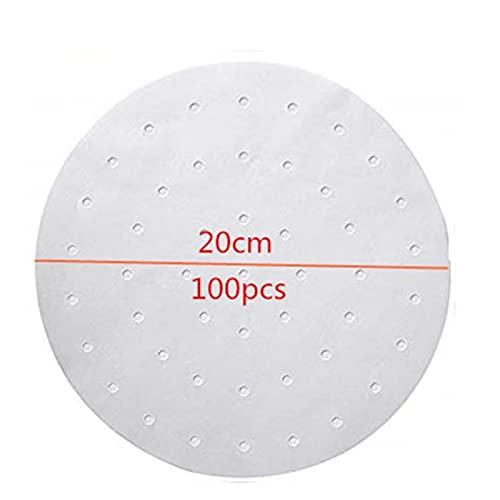 100 stks van lucht friteuse steamer voering geperforeerd oliepapier antis-stick steamer mat koken papier ronde gat ontwerp praktisch (Color : B)
