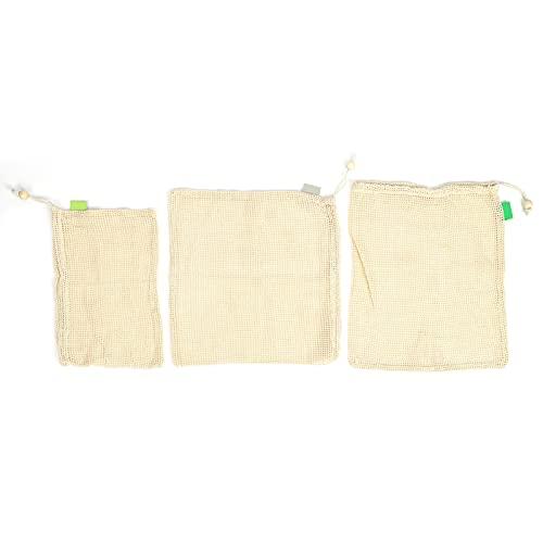 Crisist Bolsa de Malla, Bolsa de Malla de algodón Bolsas de comestibles Vegetales Reciclable de Calidad alimentaria para cosméticos para Almacenamiento de Juguetes para Pasatiempos