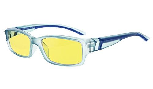 Eyekepper luz azul anti más de 94% gafas de ordenador,UV y la protección contra la radiación electromagnética de la computadora/TV, amarilla lente teñida (Azul/Azul Brazo +1.00)