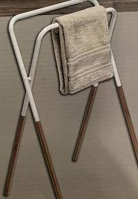 Toallero plegable 2 barras metal blanco bambú