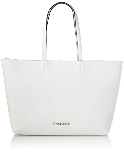 Calvin Klein Damen Ck Must Shopper Md Cav Tote, Weiß (White), 1x1x1 cm