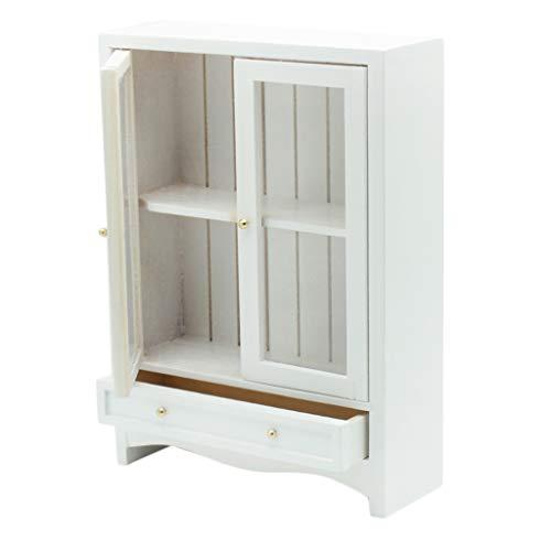 F Fityle 1:12 Puppenhaus Miniatur Holz Bücherschrank Kleiderschrank Küchenschrank, Puppenhaus Zubehör, Weiß