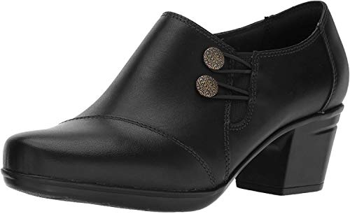 Clarks Women's Emslie Warren Slip-on Loafer,Black Leather,9.5 W US