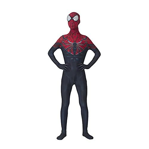 LQ-LIMAO Disfraz De Cosplay para Niños Superhéroe Spiderman Onesies Vestido Fantasía Niñas Mono Pequeños Lycra Spandex Zentai Halloween Show Body Traje Fiesta,Red-Kids/L(130~140cm