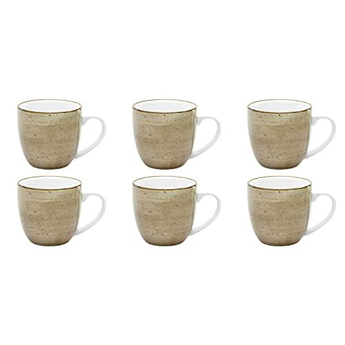 CreaTable Vintage Nature Kaffeebecher 300ml Porzellan, handgemalt, gesprenkelt, schlamm (6 Stück)