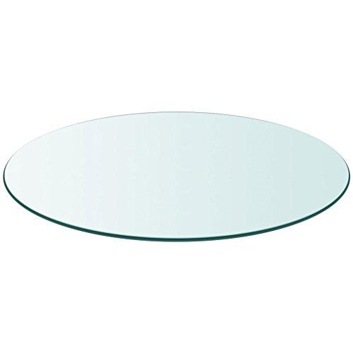 Festnight Tablero de Mesa de Cristal Templado Redondo - Color de Transparente Material de Vidrio, 700 mm