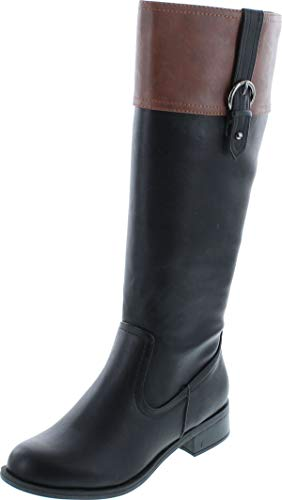 Soda Womens Visa Two Tone Harness Riding Boots,Black//Tan,8.5