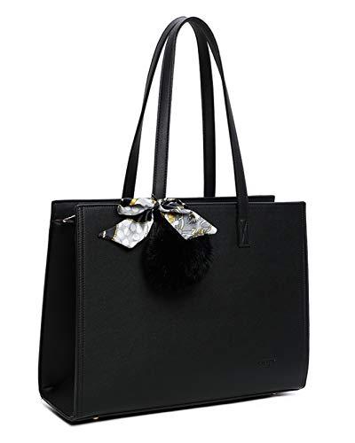 Bolso de mano para mujer con pompón de piel – Bolso estilo pañuelo tamaño A4 para clases – Gran tamaño Shopping Estuche portadocumentos – Moda y clásico