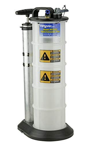 Mityvac 7201 Manual Fluid Evacuator Plus with 2.3 Gallon Reservoir; Evacuates or Dispenses Fluids with Push Button; Evacuate Through the Dipstick Tube , White
