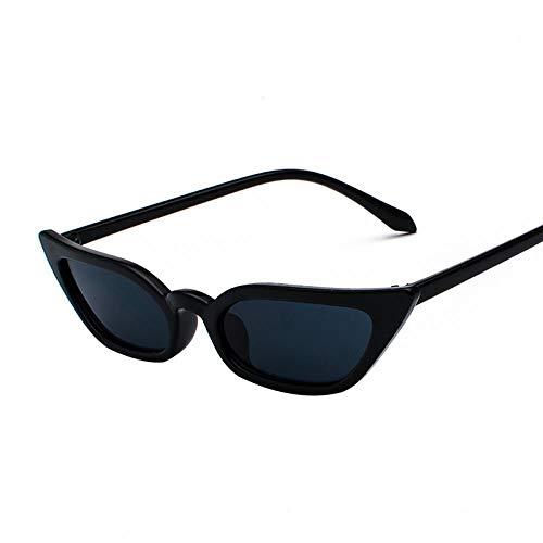 QINGZHOU Sonnenbrillen,Netto Rote Weibliche Flut Persönlichkeit Retro Sonnenbrille Straße Schuss Kleinen Rahmen Katze Brille Sonnenbrille, Schwarzer Rahmen Schwarz Grau Film C1