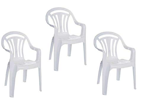 Set of 3 Garden Armchair Seat Low Back Chair Home Picnic Camping Indoor & Outdoor Lawn Stacking Fishing Patio Plastic White