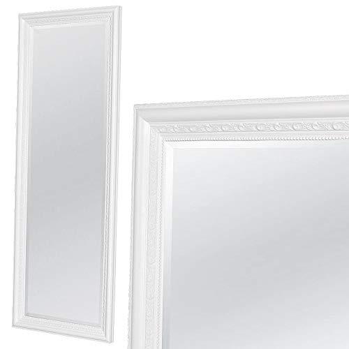 LEBENSwohnART Wandspiegel Argento 180x70cm Pur-Weiß Spiegel Barock Holzrahmen Facette