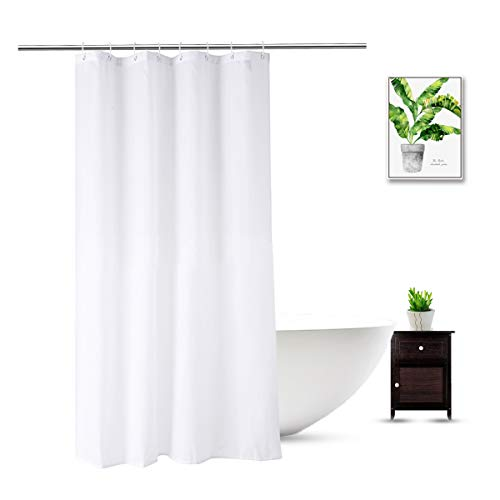 WellColor Stall Shower Curtain Liner 48 x 72 Inch, Water Repellent Polyester Bathroom Fabric Shower Liner for Spa and Hotel Quality, Machine Washable, 48x72 Inch, White